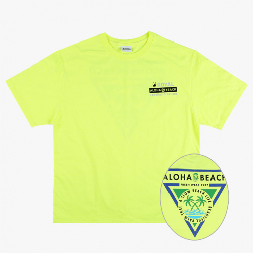 로얄하와이안크리에이션스(ROYALHAWAIIANCREATIONS) ROYAL ALOHA BEACH PRINT TEE NEON