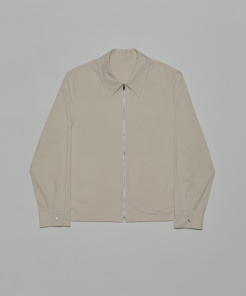 심플레인(SIMPLAIN) Cotton zip up shirt [ivory]