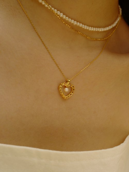 피오레(FIORE) mini pearl heart necklace