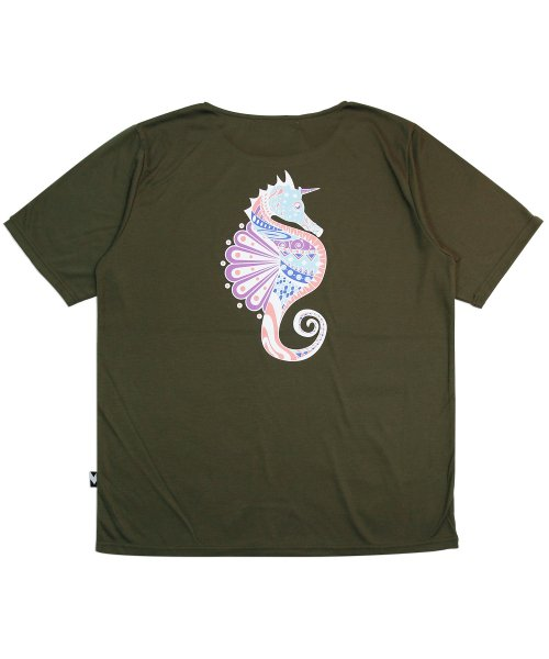 메리먼트(MERRIMENT) (유니섹스) Seahorse Graphic Short Sleeve T-shirt (KHAKI)