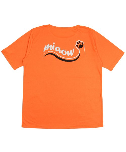 메리먼트(MERRIMENT) (유니섹스) Cat Footprint Short Sleeve T-shirt (ORANGE)