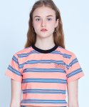 매치글로브(MATCHGLOBE) MG9S STRIPE POINT CROP TEE (CORAL)