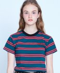 매치글로브(MATCHGLOBE) MG9S STRIPE POINT CROP TEE (NAVY)