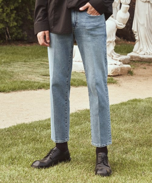 가먼트레이블(GARMENT LABLE) Garment Worker Tapered Crop Jeans / Tapered (Greyish Blue)