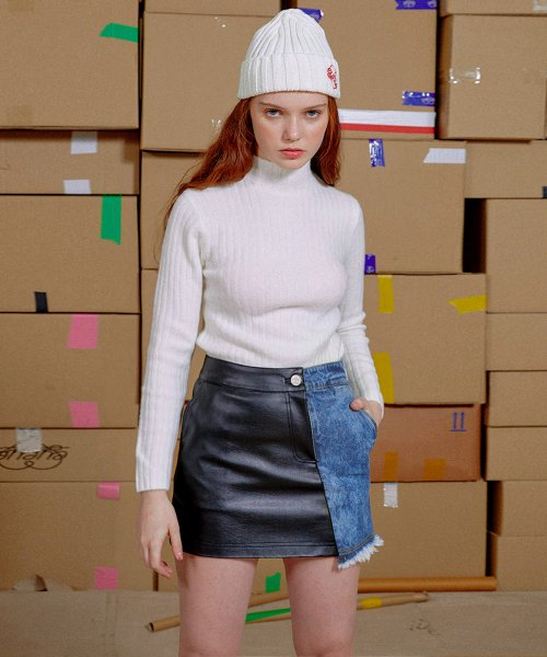 아이아이(EYEYE) DENIM LEATHER COMBINATION SKIRT_BLUE (EEON3SKR04W)