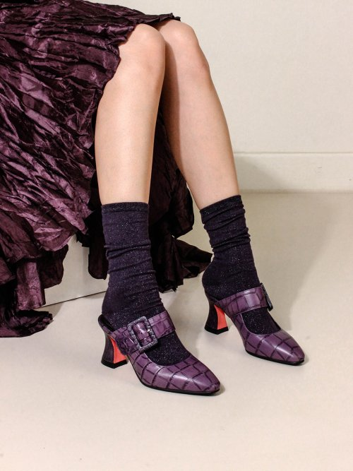 피에스메리제인(PSMARYJANE) Buckle point mule 2 Purple