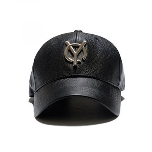 오와이(OY) LOGO LEATHER CAP - BLACK