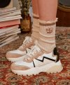 (SC-19512) COLOR BLOCK FRILL SOCKS IVORY
