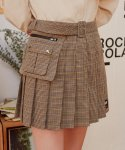 로라로라(ROLAROLA) (SK-19541) BELT PLEAT CHECK SKIRT BEIGE