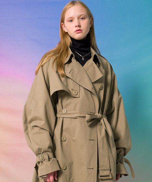 메인부스(MAINBOOTH) 9F Oversized Trench Coat(LIGHT KHAKI)