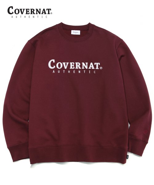 커버낫(COVERNAT) AUTHENTIC LOGO CREWNECK BURGANDY