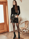 블랭크() SHINY LEATHER SKIRT-BK(2COLOR)