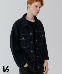 브이투() [UNISEX] Wool cross trucker jacket 2_navy