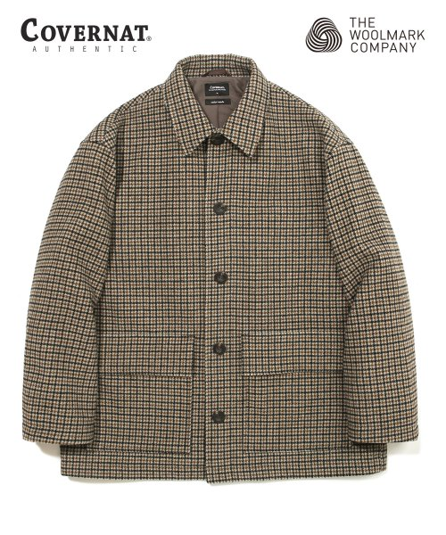 COVERNAT X TWC HOUND TOOTH WOOL SHORT COAT