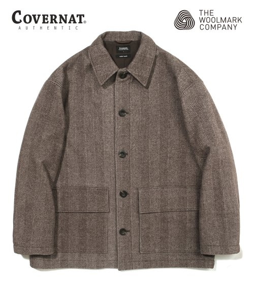COVERNAT X TWC HERRINGBONE WOOL SHORT COAT