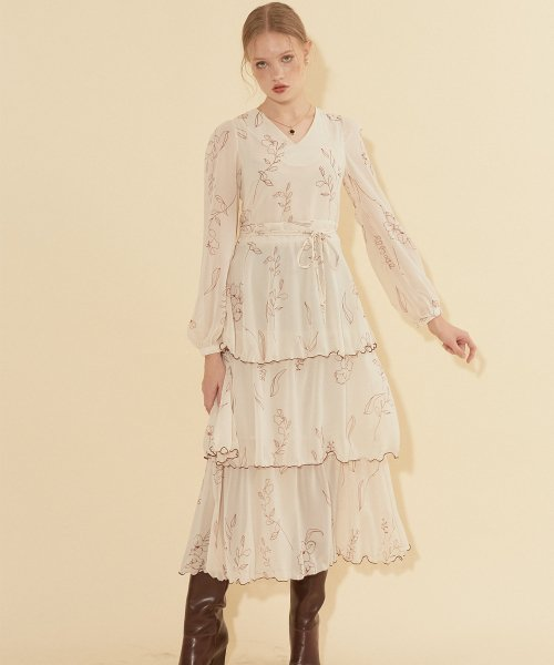 살롱 드 욘(SALON DE YOHN) Chiffon Layered Dress_ Ivory