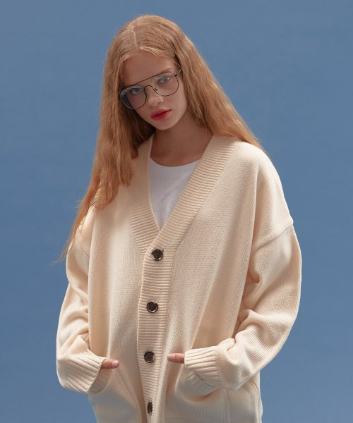 블론드나인(BLOND9) BASIC KNIT CARDIGAN_IVORY