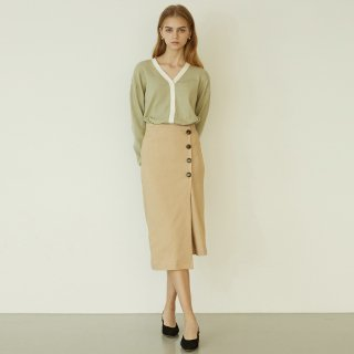 언에디트(ANEDIT) P Button Wrap Skirt_BE