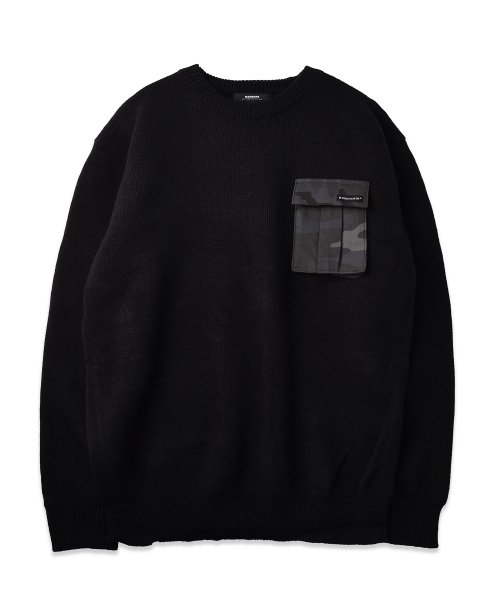 매드마르스(MADMARS) CAMOUFLAGE POCKET KNIT_BLACK