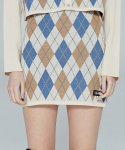 네스티팬시클럽(NASTY FANCY CLUB) [NF] FANCY ARGYLE MINI SKIRT (IVORY) (19FW-F703)