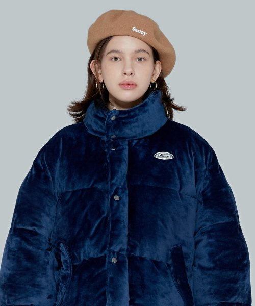 네스티팬시클럽(NASTY FANCY CLUB) [NF] FANCY VELOUR SHORT DOWN JACKET (NAVY) (19FW-F605)