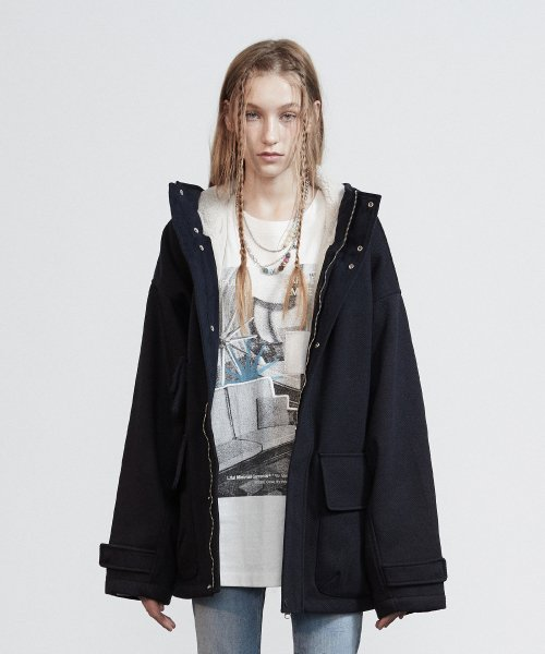 라이풀(LIFUL) HOODED WIDE JACKET navy