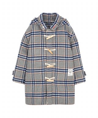CHECK DUFFLE COAT_grey check