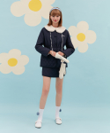 오아이오아이(OiOi) FUR CAPE QUILT JACKET_navy