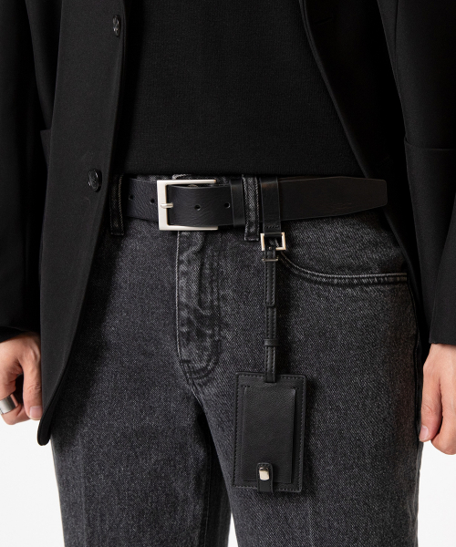 가먼트레이블(GARMENT LABLE) Square Leather Belt - Black