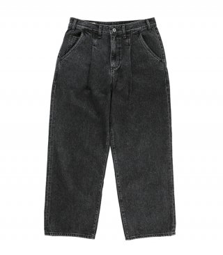 공백(GONGBAEK) Wide One Tuck black Washed Denim