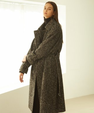 룩캐스트(LOOKAST) BLACK TRENCH OVERFIT WOOL COAT