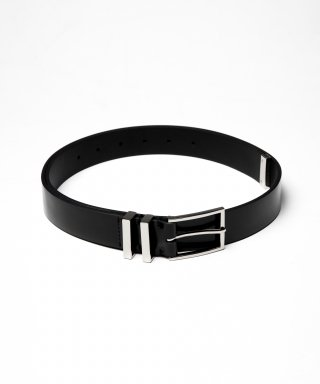 피스워커(PIECE WORKER) Metallic Leather Belt - Black
