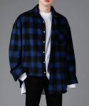 어반(AVAN) UNISEX FLEX CHECK SHIRT BLUE