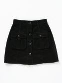 벤시몽() OUT POCKET CORDUROY SKIRT - DARK GREY