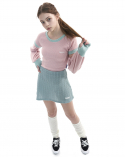 오드원아웃(ODDONEOUT) Twist knit A line skirt_mint