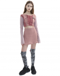 오드원아웃(ODDONEOUT) Twist knit A line skirt_pink