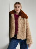 컬러블로킹 퍼 숏 코트 COLOR BLOCKING FUR SHORT COAT - BG/BL