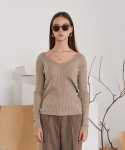 티엠오 바이 써틴먼스(TMO BY 13MONTH) CORDUROY V-NECK LONG SLEEVE KNIT (BEIGE)