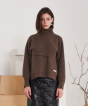 티엠오 바이 써틴먼스(TMO BY 13MONTH) SEPARABLE VEST TURTLENECK SWEATER (BROWN)
