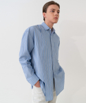 가먼트레이블() Addition Over Stripe Shirt - Blue