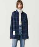 레이디 볼륨(LADY VOLUME) [남/여] Overfit vintage check shirt_navy