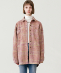 레이디 볼륨(LADY VOLUME) Tweed check shirt jacket 2_pink
