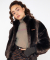 스컬프터(SCULPTOR) Faux Fur Fingerless Jacket [BROWN]