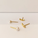 리엔느와르(leeENoir) Wave Curve Line & Pearl Set Earring (2color)