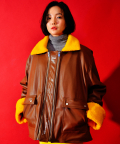 [UNISEX] Faux-Shearling and Leather Coat (Brown)