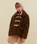 오아이오아이(OiOi) DUFFLE POINT FUR COAT_brown