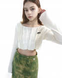 오드원아웃(ODDONEOUT) Patch work knit crop_white