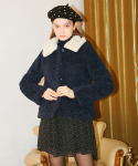 살롱 드 욘() Teddy Bear Short Coat_ Navy