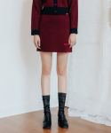 하트클럽(HEART CLUB) Heart Line Knit Skirt_Wine