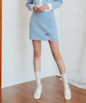하트클럽(HEART CLUB) Heart Line Knit Skirt_Sky Blue